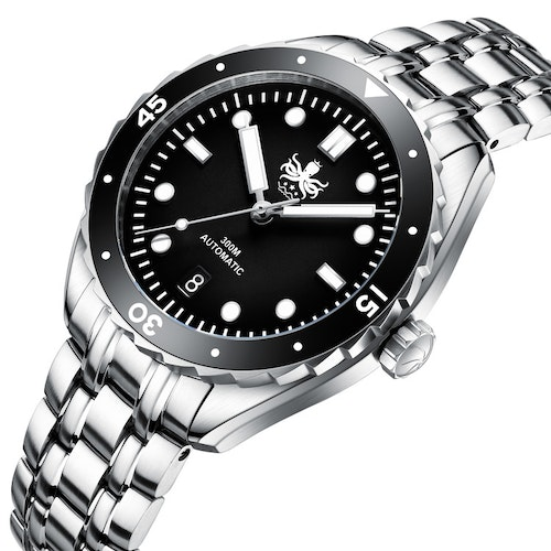 Phoibos EAGLE RAY 300M Automatic Diver Watch PY025C Black