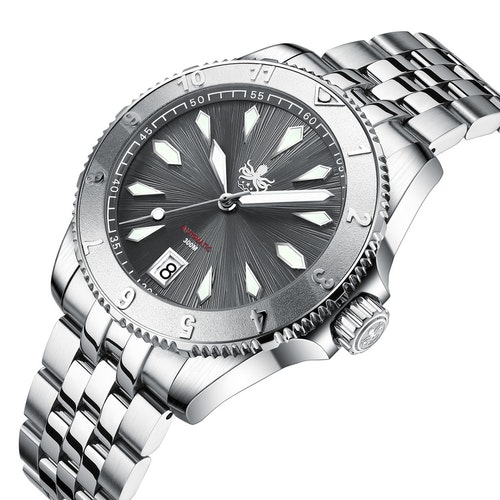 PHOIBOS Voyager 300M Automatic Diver watch PY026E Granit Grey