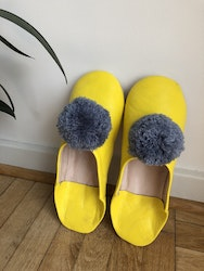 Yellow Pompom Slippers