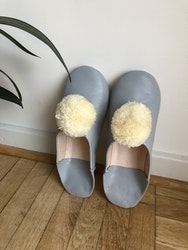 Grey Pompom Slippers