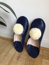 Blue Pompom Slippers
