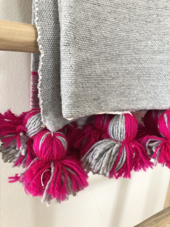 Medium - Bright pink and grey blanket