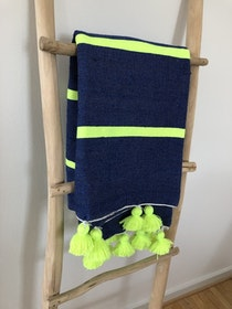 Medium - Blue and Neon Yellow Blanket