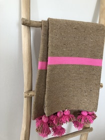 Medium - Bright Pink and Brown Blanket