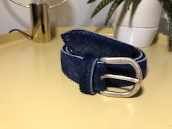 Cowhide leather belt - Navy Blue