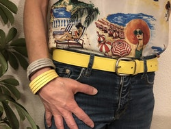 Cowhide leather belt - Yellow