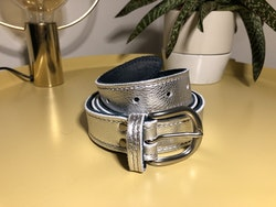 Cowhide Leather Belt - Silver