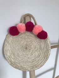 Round Basket with Pompoms