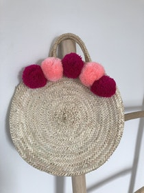 Round Basket with Pompoms