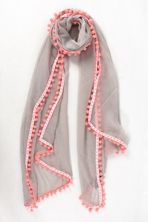 Grey and Pink Pompom scarf
