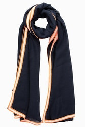 Blue with Neon Orange Scarf