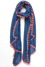 Blue Scarf with Pink Pompoms