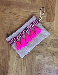 Neon Pink Hessian Tassel Clutch