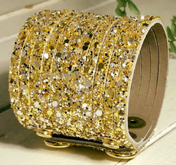 Wide Leather Cuff - Sparkly Gold