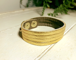Narrow Leather Cuff - Gold