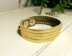Narrow Leather Cuff - Gold