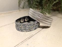 Narrow Leather Cuff - Silver Glitter