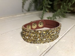 Narrow Leather Cuff - Gold Sparkles