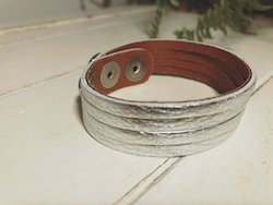 Narrow Leather Cuff - Silver