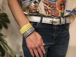 Narrow Leather Cuff - Yellow