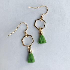 Hexagon tassel earrings - Olive