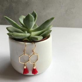 Hexagon tassel earring - Red