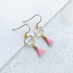 Hexagon tassel earrings - Pink