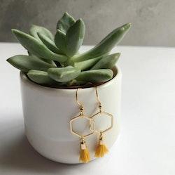 Hexagon tassel earrings - Yellow