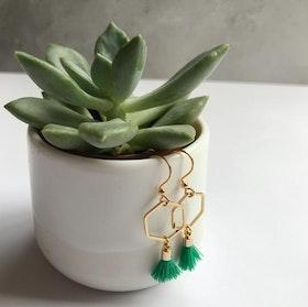 Hexagon tassel earrings - Green