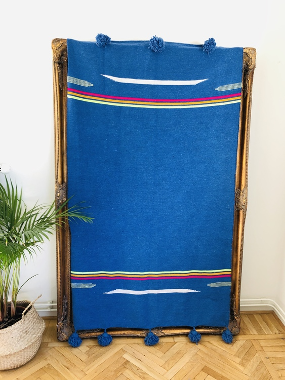 Small - Blue with colourful stripe blanket