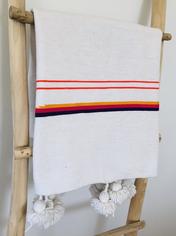 Small - White Blanket with Colourful Stripes