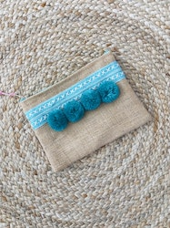 Hessian Clutch Bag - Turquoise
