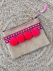 Hessian Clutch Bag - Pink