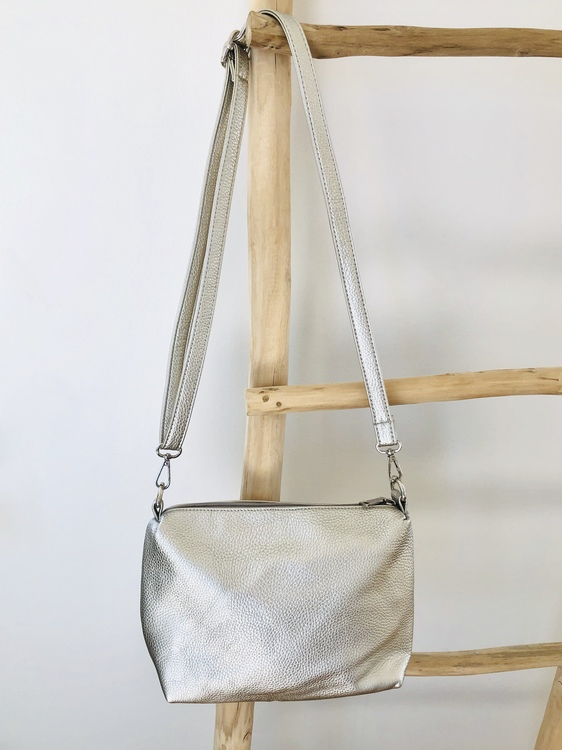 Metallic Silver 2 in 1 Totes Bag