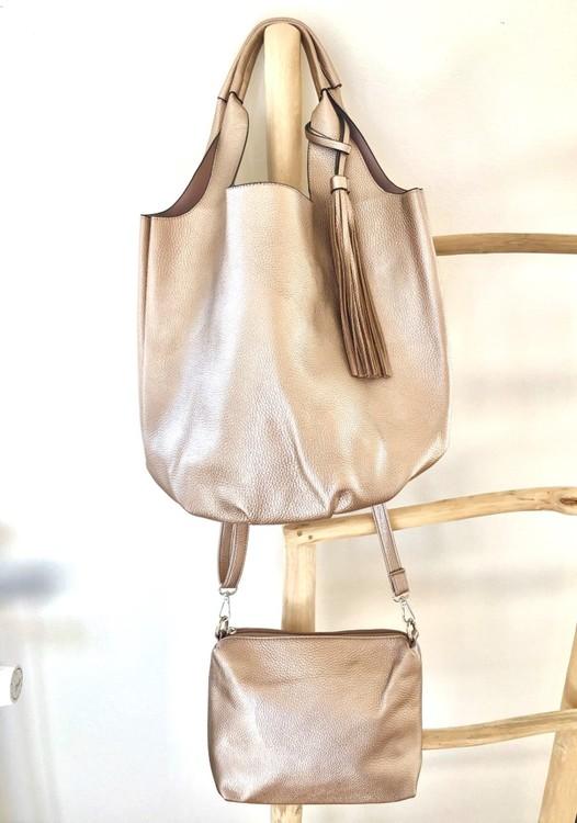 Metallic Gold 2 in 1 Totes Bag