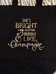 Tygpåse She's bright like glitter guld