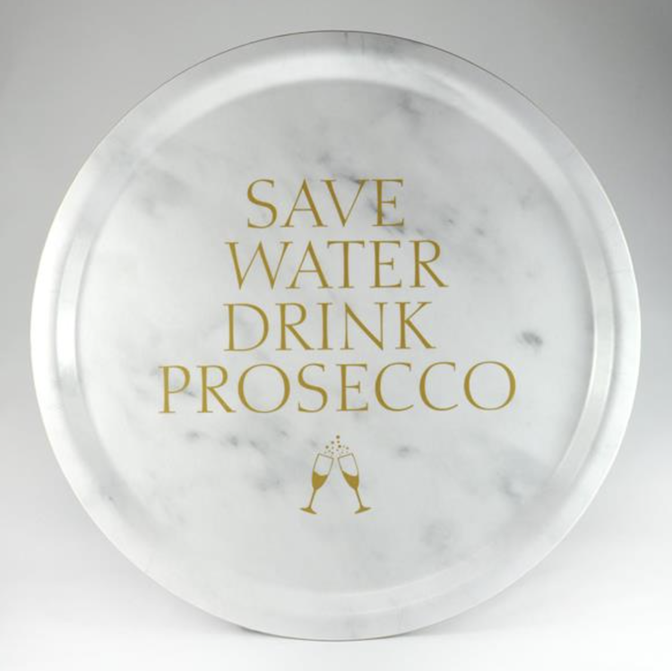 Bricka Save Water drink Prosecco Marmor