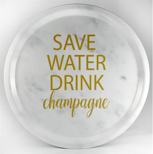 Bricka Save Water drink champagne Marmor