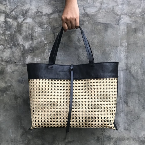 Alixtra Rattan Bag Black