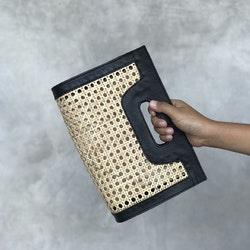 Alixtra Rattan Clutch Black