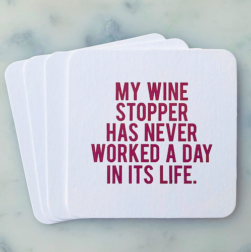My Wine Stopper has Never Coasters 4-pack