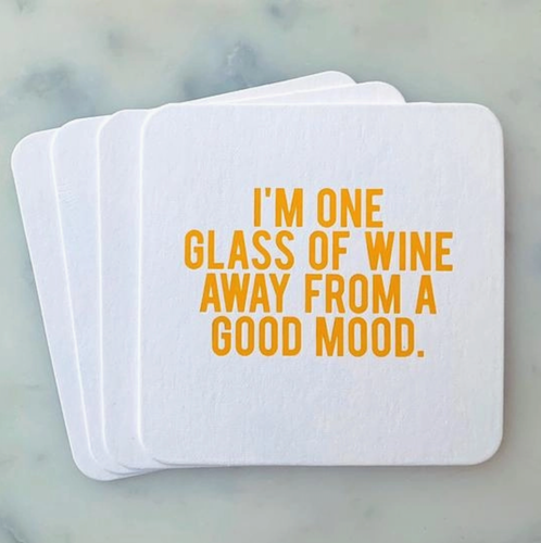 One Glass of Wine away Coasters 4-pack