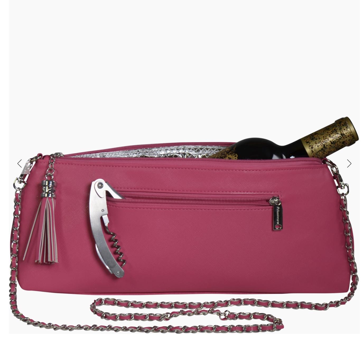 Vinväska Pink Crossbody med korkskruv