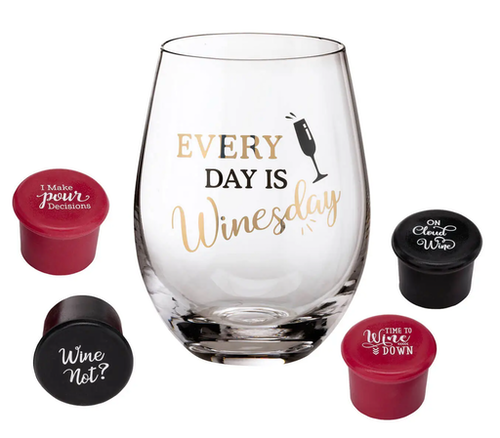 Vinglas med 4 vinkorkar WinesDay