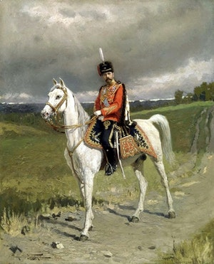 NICHOLAS II ON HORSE BACK - NIKOLAJ II TILL HÄST by/av Alexander Majkovsky