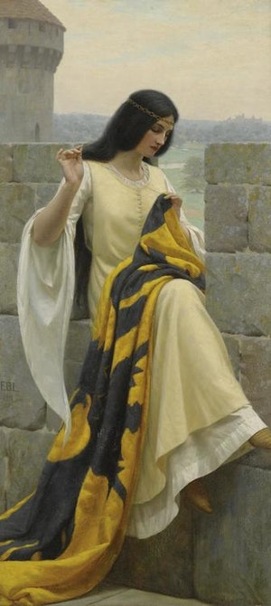 STICHING THE STANDARD - JUNGFRU SYR STRIDSFANA ÅT KORSRIDDARE av Edmund Blair Leighton