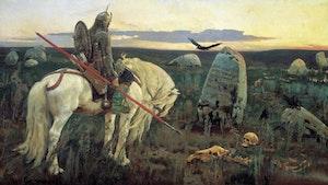 EN VIKING RIDDARE VID KORSVÄG av Viktor Vasnetsov