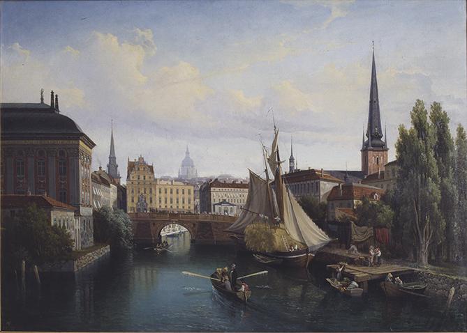 UTSIKT ÖVER RIDDARHOLMSKANALEN STOCKHOLM 1835 av GUSTAF WILHELM PALM