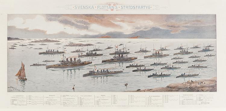SVENSKA FLOTTANS STRIDSFARTYG 1903 av JACOB och ELEONORA HÄGG (AFFISCH)