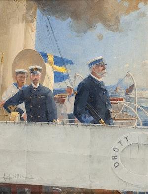 OSCAR II  OCH HERMAN AF SILLÉN PÅ KUNGAJAKTEN DROTT 1907 av HERMAN AF SILLÉN